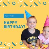 Text: Party Time Happy Birthday