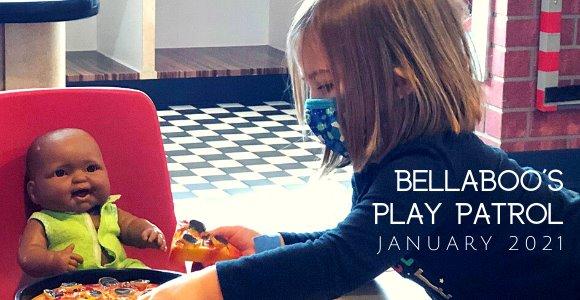 Bellaboo's Play Patrol January - Child feeding pretend pizza to babydoll