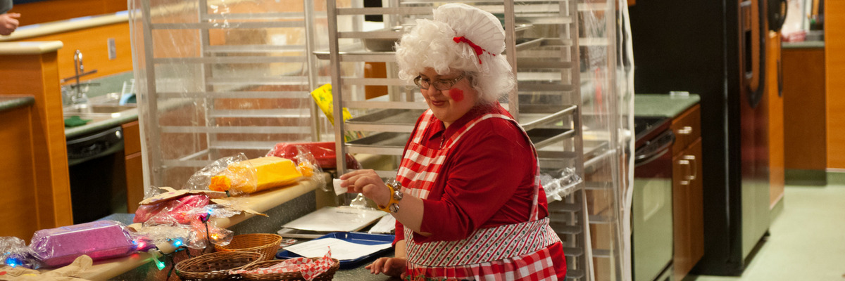 Mrs. Claus making cookies